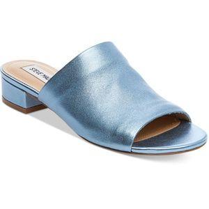 STEVE MADDEN Briele Slide Metallic Blue Open Toe